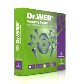Dr.Web Security Space - на 5 ПК, на 6 мес.